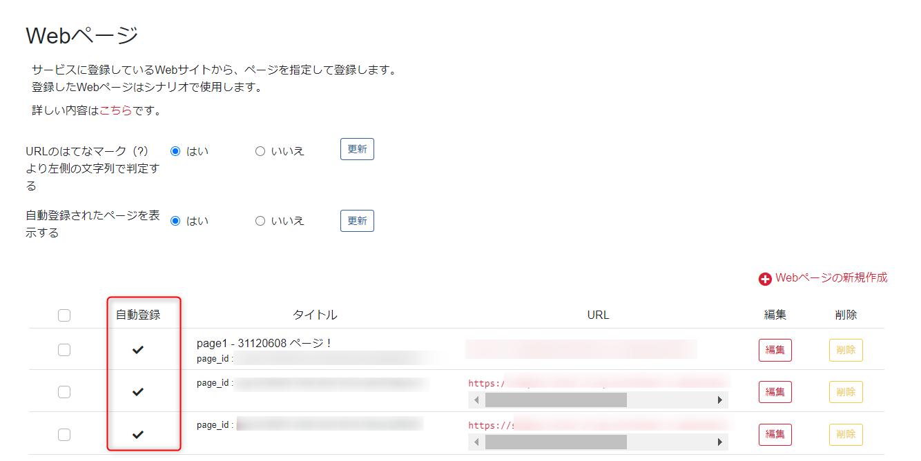 Webページ管理画面